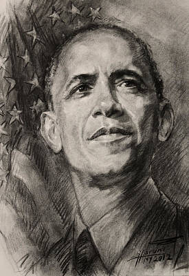 The Obamas Drawing - Commander-in-chief by Ylli Haruni