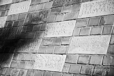 Polish City Photograph - Commemorative Sponsor Plaques Buried In The Wall Of Wawel Castle Krakow by Joe Fox
