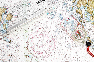 Nautical Chart Photograph - Compass Rose by Photo Researchers