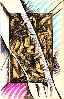 Behind The Scenes Drawing - Composition Four by Al Goldfarb