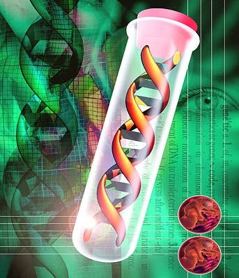 Computer Artwork Of A Dna Sample In A Tes Print by Victor Habbick Visions