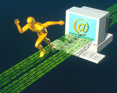 Computer Artwork Of E-mail As A Sprinter Print by Laguna Design