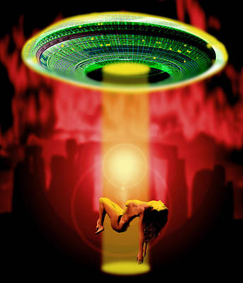 Abduction Photograph - Computer Artwork Of Woman Being Abducted By Aliens by Victor Habbick Visions