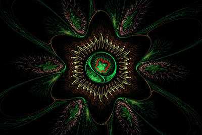 Computer Generated Green Flower Abstract Fractal Flame Modern Art Print by Keith Webber Jr
