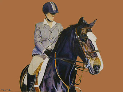 Concentration - Hunter Jumper Horse And Rider Print by Patricia Barmatz