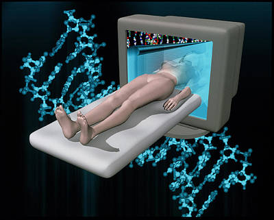 Conceptual Artwork Of Human Genetic Analysis Print by Laguna Design