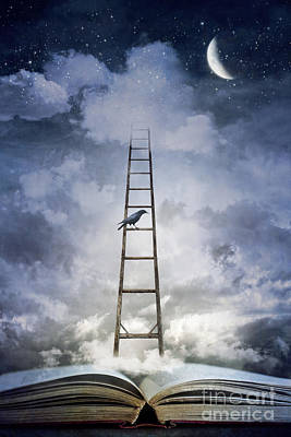 Conceptual Image Of Open Book With Ladder And Floating Clouds Print by Sandra Cunningham