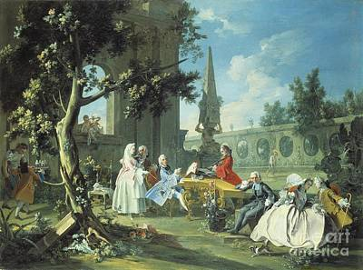 Concert In A Garden Print by Filippo Falciatore