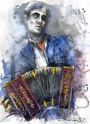 Concertina Player Print by Yuriy  Shevchuk