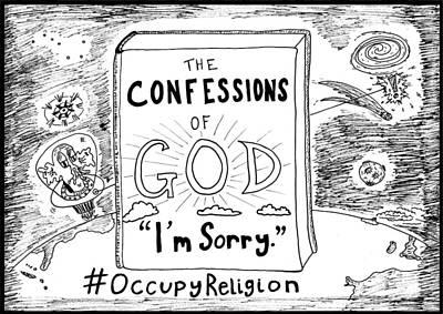 Confessions Of God Book Title Cartoon Original by Yasha Harari