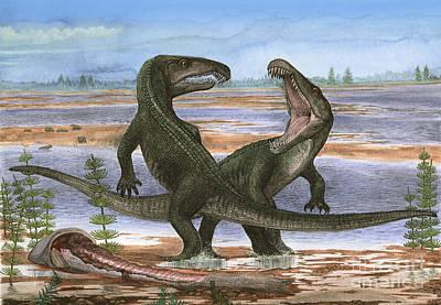 Confrontation Between Two Prehistoric Print by Sergey Krasovskiy