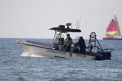 Conservation Patrol Boat In Lake Michigan Print by Christopher Purcell