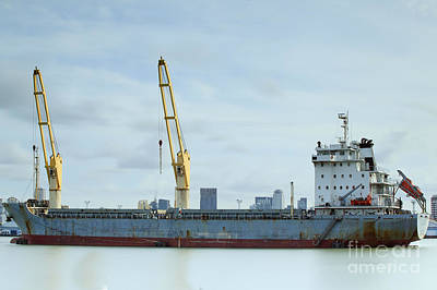 Container Cargo Freight Ship With Working Crane Original by Anek Suwannaphoom