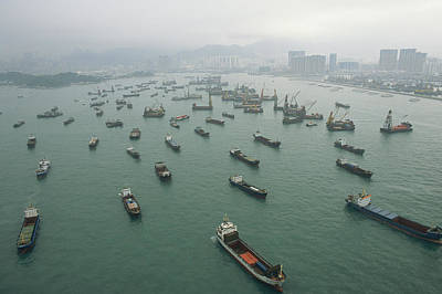 Container Ships In Hong Kong Harbor Print by Justin Guariglia