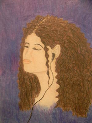 Music Ipod Drawing - Contentment by Mahalaleel Muhammed-Clinton