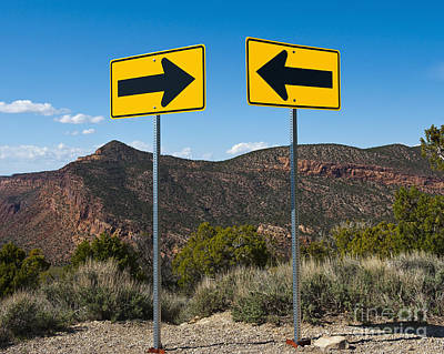 Contradiction Photograph - Contradictory Road Signs by Thom Gourley/Flatbread Images, LLC