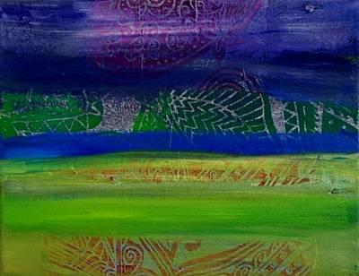 Lino Mixed Media - Cool Colors In A Horizontal Rush by Samar Asamoah