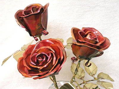 Copper Roses With Brass Leaves Original by Joy Gibat