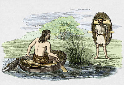 Coracle Boats Of The Ancient Britons Print by Sheila Terry