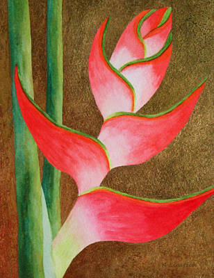 Heliconia Painting - Coral Lobster Claw Heliconia With Gold Leaf by Kerri Ligatich