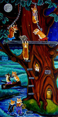 Cartoon Animals Painting - Corgi Secret Hideout by Lyn Cook