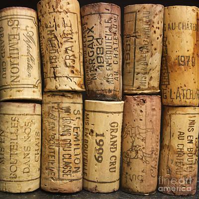 Corks Of Fench Vine Of Bordeaux Print by Bernard Jaubert
