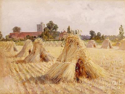 Bundle Painting - Corn Stooks By Bray Church by Heywood Hardy