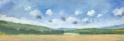 Cornfields Near Brading Print by Alan Daysh