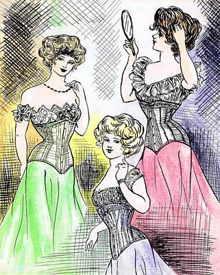 Corset Ladies Print by Mel Thompson