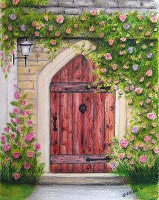 Gizelle Perez Drawing - Cottage Door by Gizelle Perez