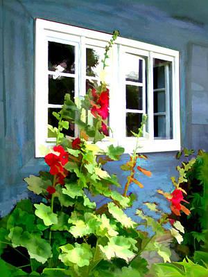 Hollyhock Digital Art - Cottage Garden Windows Framed By Colorful Hollyhocks by Elaine Plesser