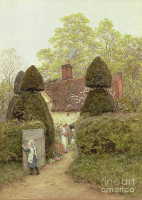 Chimneys. Flowers Painting - Cottage Near Pinner by Helen Allingham