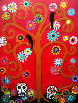 Our Lady Of Guadalupe Painting - Couple Dia De Los Muertos by Pristine Cartera Turkus