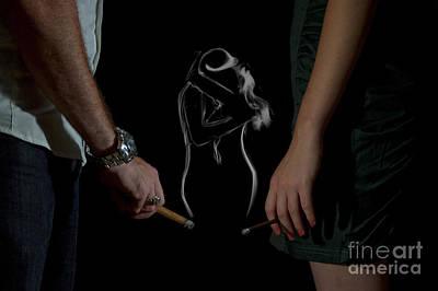 Couple Hugging Smoke Figure Print by Guy Viner