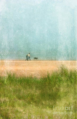 Couple On Beach With Dog Print by Jill Battaglia