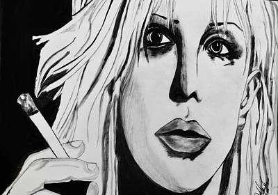 Kurt Cobain Drawing - Courtney Love by Cat Jackson