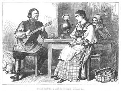 Babushka Photograph - Courtship In Russia, 1880 by Granger