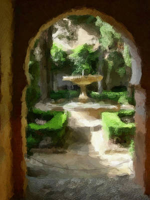 Courtyard In Sunshine Through Moorish Arches Print by Elaine Plesser