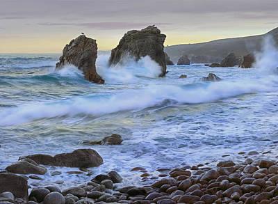 Of Big Sur Beach Photograph - Cove And Seastacks Near Garrapata State by Tim Fitzharris