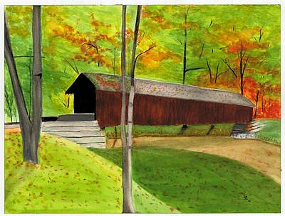 Covered Bridge Painting - Covered Bridge 1 by David Bartsch