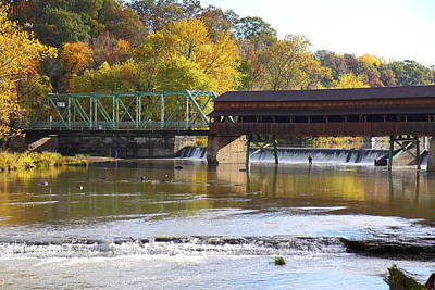 Covered Bridge Fishing Print by Kevin Schrader
