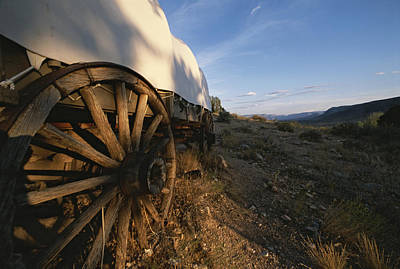 Covered Wagon At Bar 10 Ranch Print by Todd Gipstein