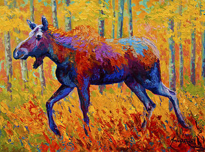Autumn Landscape Painting - Cow Moose by Marion Rose
