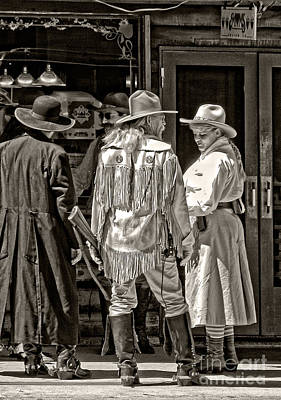 Cowboys In Monochrome Print by Kathleen K Parker