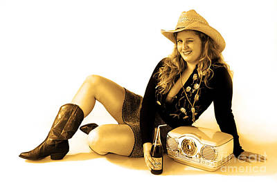 Digital Photograph - Cowgirl Music Sepia by Gib Martinez