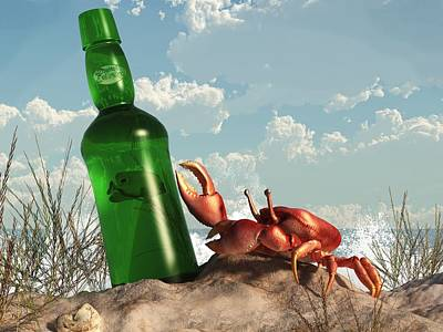 Crab With Bottle On The Beach Print by Daniel Eskridge