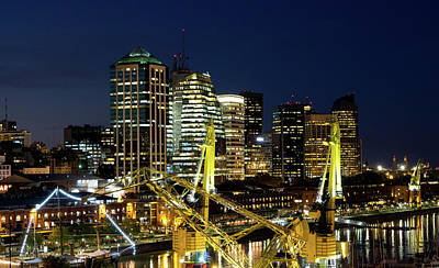 Buenos Aires Photograph - Cranes And Building At Night In Puerto Madero by Photo by Jim Boud