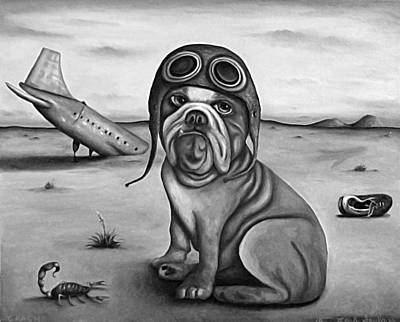 Goggles Painting - Crash In B And W by Leah Saulnier The Painting Maniac
