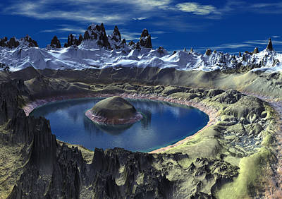 Crater Digital Art - Crater Lake by Heinz G Mielke