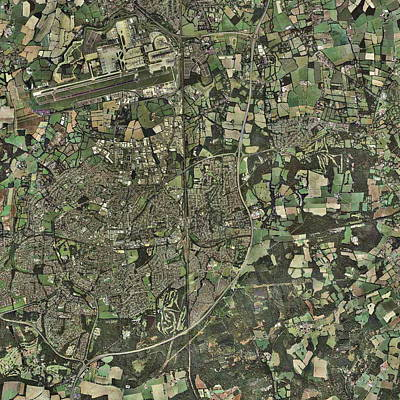 Crawley, Uk, Aerial Image Print by Getmapping Plc